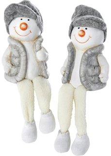 Сидячая фигурка Снеговик (2 шт.) (белый/светло-серый) Bonprix