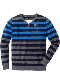 Пуловер в полоску прилегающего покроя (серый меланж/голубой в полоску) Bonprix