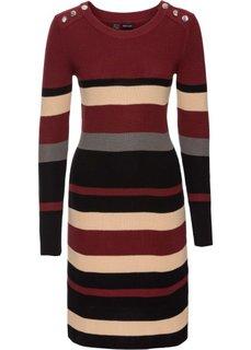 Вязаное платье в полоску (красный каштан/черный) Bonprix