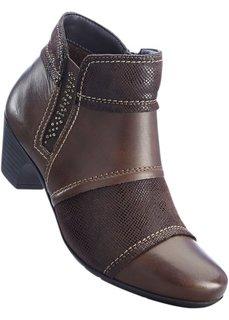 Удобные кожаные полусапожки (темно-коньячный) Bonprix