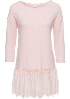 Мягкий пуловер с кружевом (розовый) Bonprix