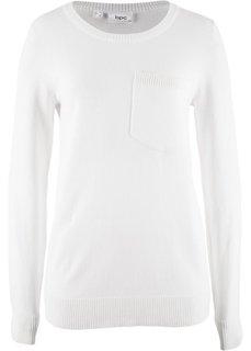 Пуловер с карманом на груди (кремовый) Bonprix