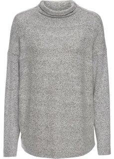 Нежный пуловер с высоким воротом (серый меланж) Bonprix
