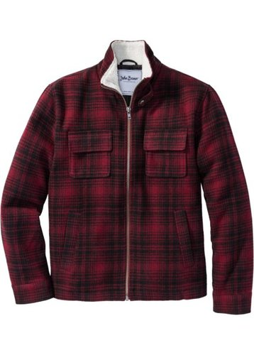 Куртка Regular Fit с воротником из искусственного меха (красный в клетку)