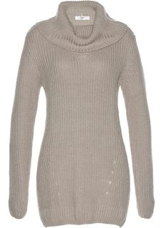 Пуловер с высоким воротником (меланжевый натуральный камень) Bonprix