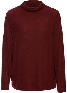 Нежный пуловер с высоким воротом (темно-красный) Bonprix