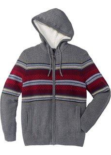 Вязаный кардиган Regular Fit с капюшоном (серый меланж) Bonprix