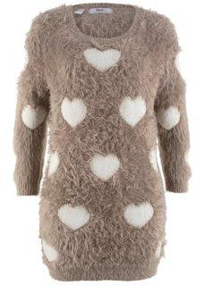 Пуловер с удлиненной спинкой и рукавами 3/4 (серо-коричневый/кремовый с узором) Bonprix