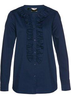 Блузка с рюшами (темно-синий) Bonprix