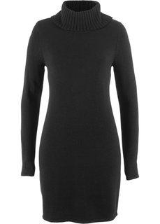 Вязаное платье с длинным рукавом и высоким воротником (черный) Bonprix