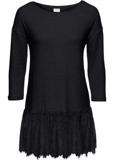 Мягкий пуловер с кружевом (черный) Bonprix