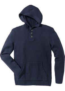 Пуловер Slim Fit с капюшоном (темно-синий) Bonprix
