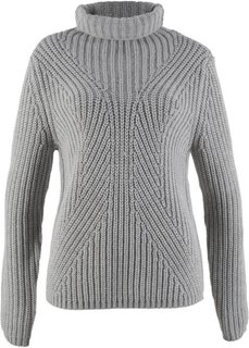 Пуловер с высоким воротником (светло-серый меланж) Bonprix