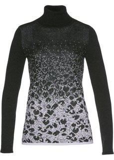 Пуловер-водолазка с жаккардовым узором (антрацитовый меланж/серебристый) Bonprix