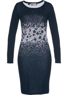 Вязаное платье с жаккардовым переплетением (темно-синий/серебристый) Bonprix