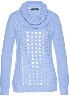 Пуловер с высоким воротником и пайетками (синий жемчуг) Bonprix