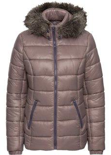 Утепленная куртка с меховой отделкой (бурый) Bonprix