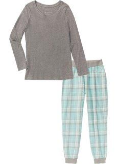 Фланелевая пижама (серый меланж с рисунком) Bonprix