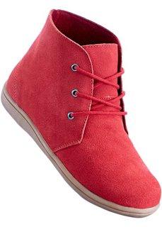Ботинки из велюровой кожи (красный) Bonprix