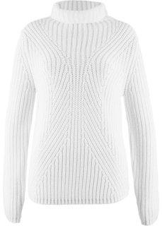 Пуловер с высоким воротником (кремовый) Bonprix
