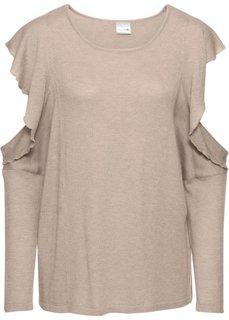 Пуловер с вырезами (бежевый меланж) Bonprix