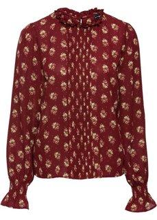 Шифоновая блузка (красный каштан в цветочек) Bonprix