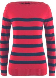Пуловер с вырезом-лодочка и длинным рукавом (красный/темно-синий в полоску) Bonprix