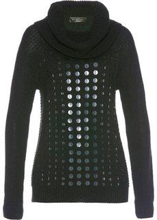Пуловер с высоким воротником и пайетками (черный) Bonprix