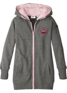 Трикотажная куртка с капюшоном на подкладке (серый меланж/розовая пудра) Bonprix
