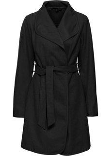 Пальто с поясом в талии (черный) Bonprix