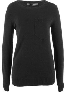Пуловер с карманом на груди (черный) Bonprix