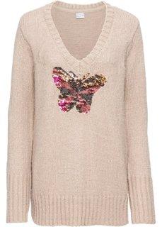 Пуловер с пайетками (бежевый меланж) Bonprix