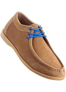 Удобные кожаные туфли на шнуровке, танкетка (верблюжий/голубой) Bonprix