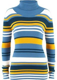 Пуловер с высоким воротом (синий в полоску) Bonprix