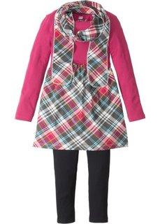 Платье + легинсы + шарф (3 изд.) (красная ягода в клетку) Bonprix