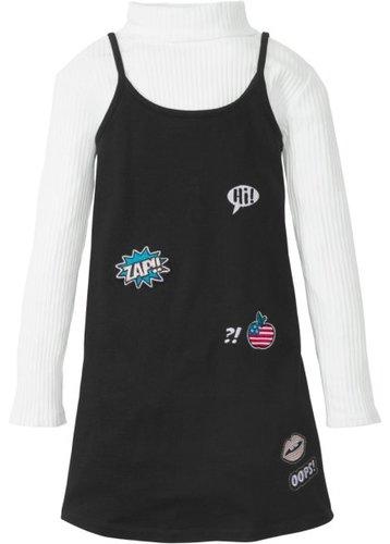 Трикотажный сарафан + футболка с длинным рукавом (2 изд.) (черный/кремовый)