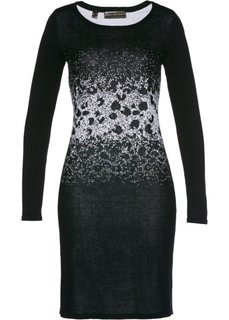 Вязаное платье с жаккардовым переплетением (черный/серебристый) Bonprix