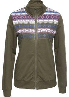 Трикотажная куртка с воротником-стойкой (темно-оливковый с рисунком) Bonprix