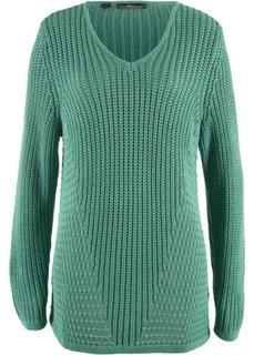Вязаный пуловер со структурным узором (зеленый шалфей) Bonprix