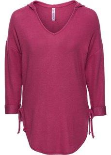 Вязаная футболка с лентами (красно-ягодный меланж) Bonprix