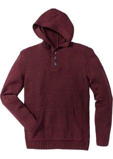 Пуловер Slim Fit с капюшоном (кленово-красный) Bonprix