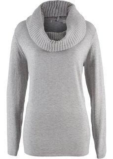 Пуловер 2 в 1 удлиненного дизайна с шалью (светло-серый меланж) Bonprix