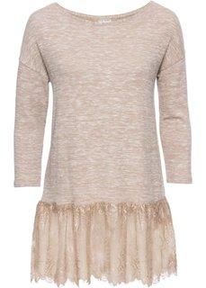 Мягкий пуловер с кружевом (бежевый меланж) Bonprix