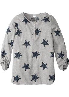 Удлиненная футболка с рукавами с подворотом (светло-серый меланж) Bonprix