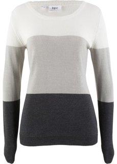 Пуловер (кремовый в полоску) Bonprix