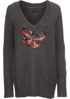 Пуловер с пайетками (антрацитовый меланж) Bonprix