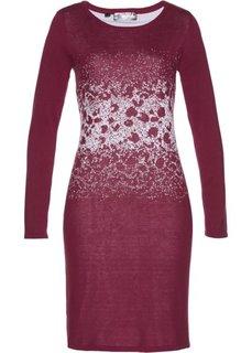 Вязаное платье с жаккардовым переплетением (красный рододендрон/серебристый) Bonprix
