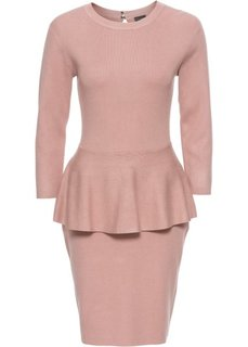 Вязаное платье с баской (розовый) Bonprix