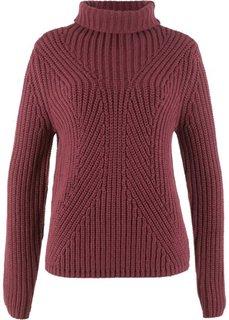 Пуловер с высоким воротником (кленово-красный) Bonprix
