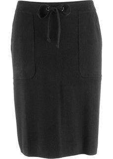 Вязаная юбка с накладными карманами (черный) Bonprix